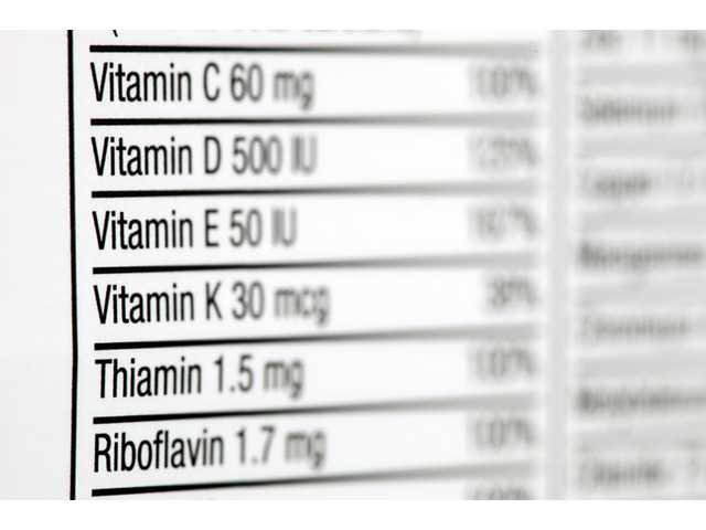 This Oct. 13, 2011 file photo shows the nutritional label of a box of multivitamins, photographed in Philadelphia.