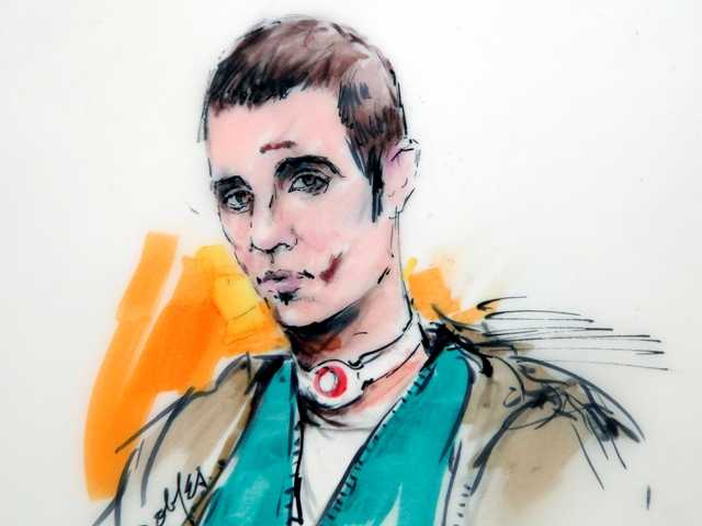 Courtroom drawing of Paul Ciancia during a hearing appearance Dec. 4. Ciancia has been charged with killing a TSA officer and wounding three others at LAX.