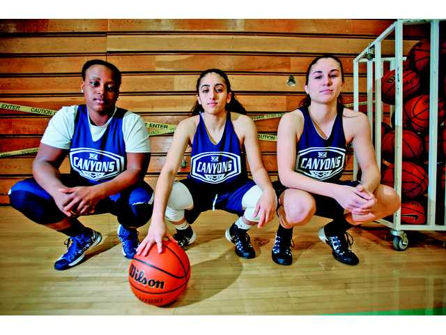 College of the Canyons women's basketball players, from left, Keke Mathews, Shawn Kolani and Jordan Oster.