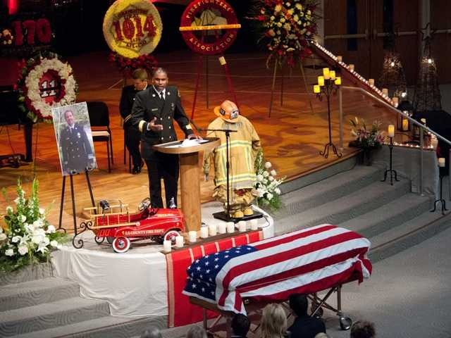A memorial service was held held for Fire Captain John David Mazzocco of the Los Angeles County Fire Station 111, who passed away after a long-term illness at the age of 48. Photo by Douglas Morrison, Los Angeles County Fire Department Forester and Fire Warden Photographer.