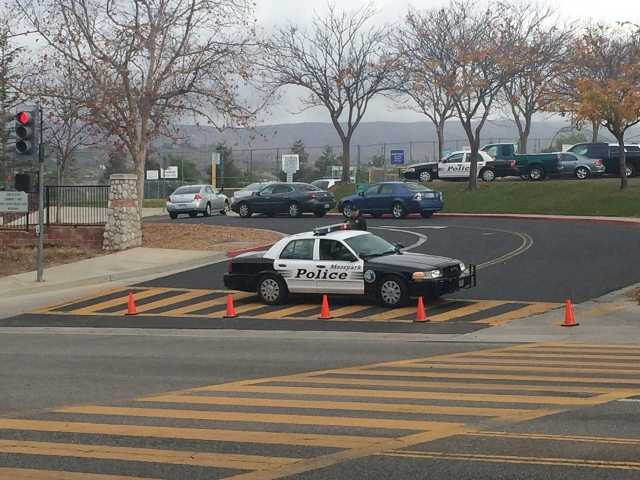 Moorpark High School was on lock down as authorities searched the campus Thursday, Dec. 19, 2013 after a threat was made.