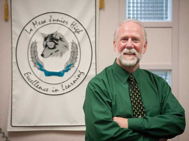 Principal Pete Fries poses for a picture at La Mesa Junior High School on Thursday. Fries is retiring after 12 years of service. Signal photo by Charlie Kaijo.