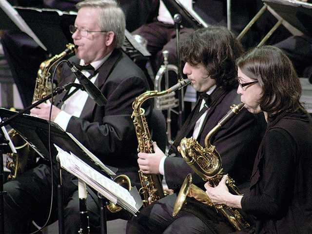 Members of the College of the Canyons Studio Jazz Ensemble saxophone section are, from left, Jim Brown, Laor Glukhovsky and Nancy Newman. Jesse Munoz/Courtesy photo