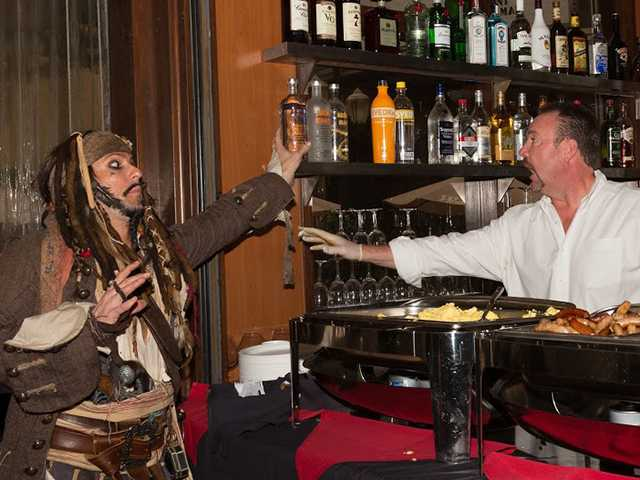 "Jack Sparrow, played by Brandon Hillock of the TV show ""Veronica Mars,"" left, and Greg Amsler, owner of Salt Creek Grille. Combat Radio/Courtesy photo"