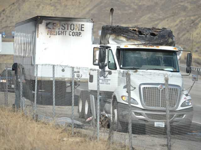 A big rig fire shut down part of the southbound Interstate 5 in Castaic on Friday. Signal photo by Dan Watson