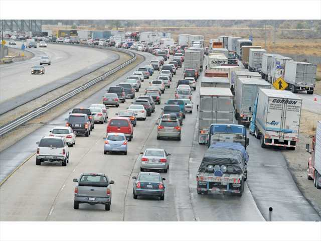 In the Signal file photo, traffic snarls as cars are diverted down to one lane to exit at Parker Road in Castasic due to a road closure of the Interstate 5 Freeway at Lake Hughes Road in Castaic.