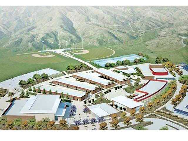 A rendering of the completed Castaic High School campus