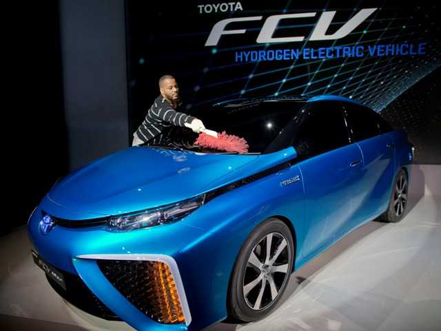 Toyota's FCV hydrogen electric concept car was introduced during the International Consumer Electronics Show on Monday, in Las Vegas.