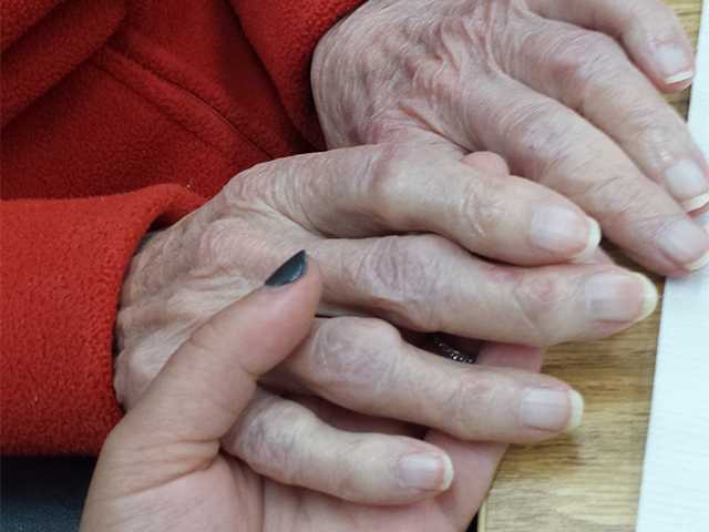 A photo of Stephanie Sauer's hands and that of her clients from the Santa Clarita Valley Senior Center. Stephanie Sauer/Courtesy photo