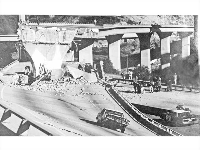 This file photo from 1994 shows a Highway 14 overpass that collapsed during the Northridge earthquake.