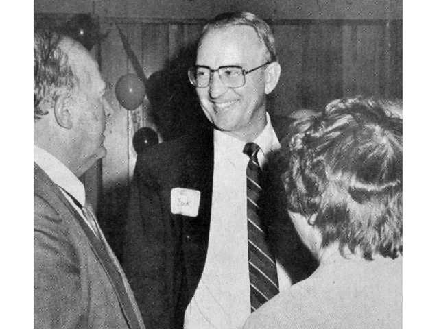 "In this 1987 photo, Howard ""Buck"" McKeon celebrates at a party after being elected to the Santa Clarita City Council."