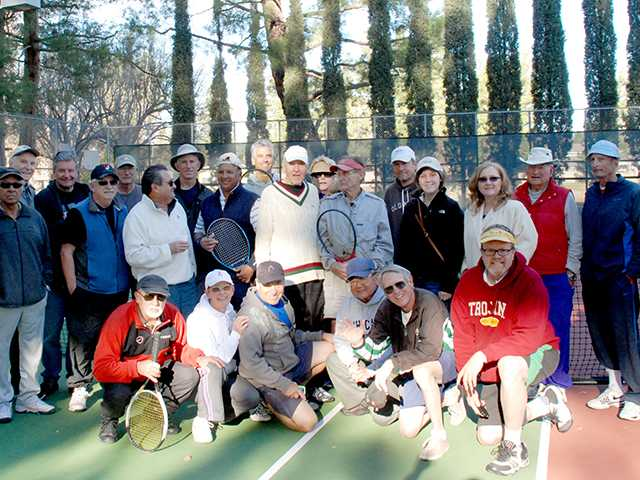 Newhall Tennis Club members came together to celebrate two of their players' birthdays on Dec. 31. Donna Troup/courtesy photo