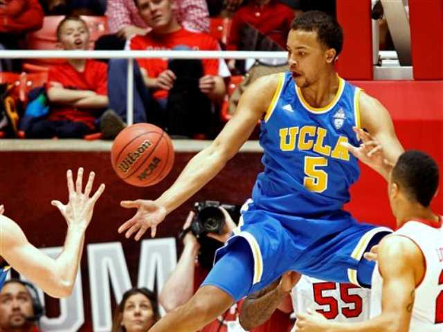 UCLA's Kyle Anderson loses control of the ball during the first half of an NCAA college basketball game against Utah in Salt Lake City, Saturday, Jan. 18, 2014.