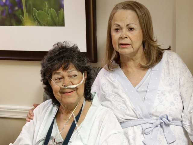 Earlier this month Irma Myers-Santana, left, and her sister Anna Williamson ended up in the same operating room, each getting one lung from the same donor.
