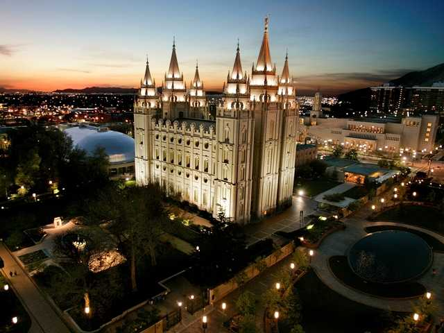 The Mormon church opposes efforts to relax Utah's famously strict liquor laws. Above, a file photo of the sun setting behind the Mormon Temple in Salt Lake City.