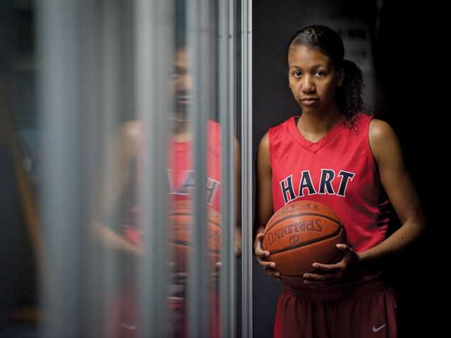 Hart High junior basketball player Breze Kimble has seen more success, in terms of wins, this season than her two previous seasons combined. She is averaging 17.4 points and 12.1 rebounds per game in 2013-14.