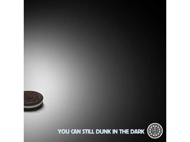 This image provided by Oreo's on Feb. 3, 2013, shows the image the company's marketers tweeted some 10 minutes after the power went out during the Super Bowl XLVII football game.