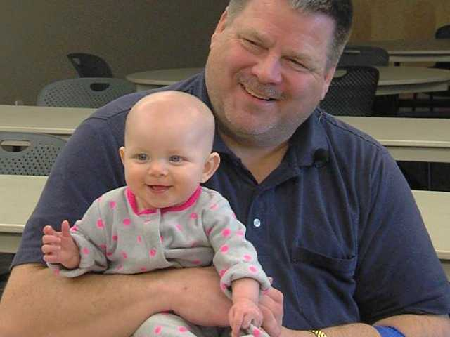Del Hinckley, holding his 6-month-old daughter Alyssa, is grateful that his baby was not injured in the accident.