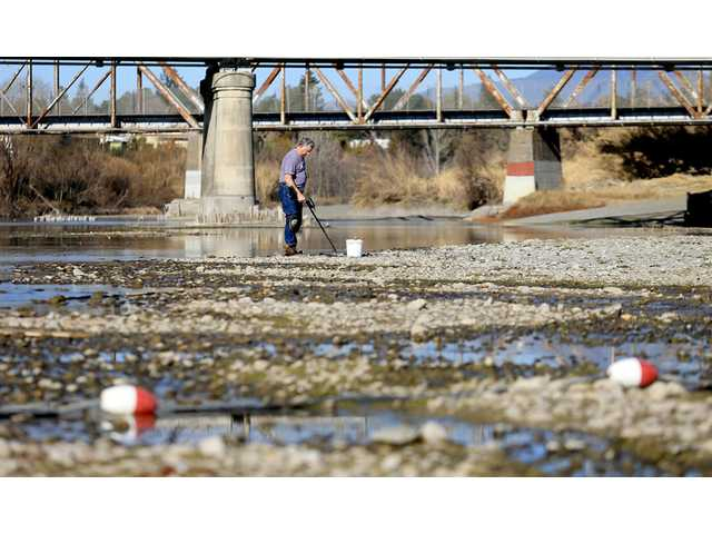 In this Jan. 14 file photo, Hugh Beggs of Santa Rosa searches for coins in the middle of the Russian River at Healdsburg Veterans Memorial Beach in Healdsburg, taking advantage of the way below normal river flow.