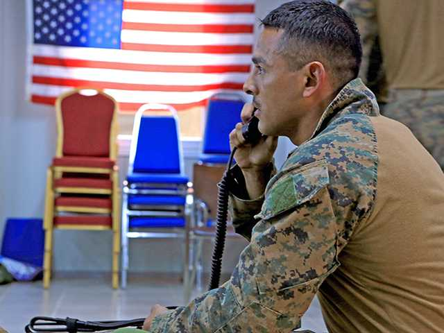 Sergeant Miguel A. Infante of Newhall conducting a radio check during a readiness drill in Entebbe, Uganda. Encompass Digital Media/Defense Video & Imagery Distribution System/courtesy photo