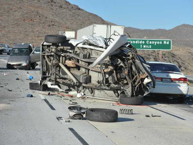 This Signal file photo from June 17, 2013 shows some of the wrecked cars involved in a mutli-vehicle crash caused by Canyon Country resident Rick Allen Walker, who drove the wrong way on Highway 14 near Escondido Canyon Road.