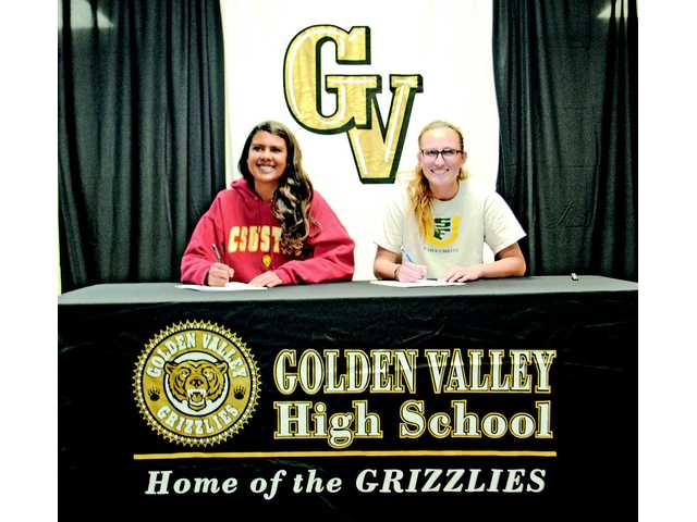 The Golden Valley athletes to sign were, from left to right, Courtney Ravenell (soccer, Cal State Stanislaus) and Samantha Jehnings (soccer, University of San Francisco).