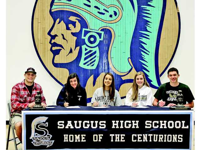 For Saugus, Wednesday's signees were, from left to right, Austin Davenport (football, New Mexico State) Katelyn Benavidez (soccer, College of Idaho) Alana Shaw (soccer, College of Saint rose), Abigail Frankian (cross country, The Master's College) and Alex Pearson (cross country, Utah Valley University).