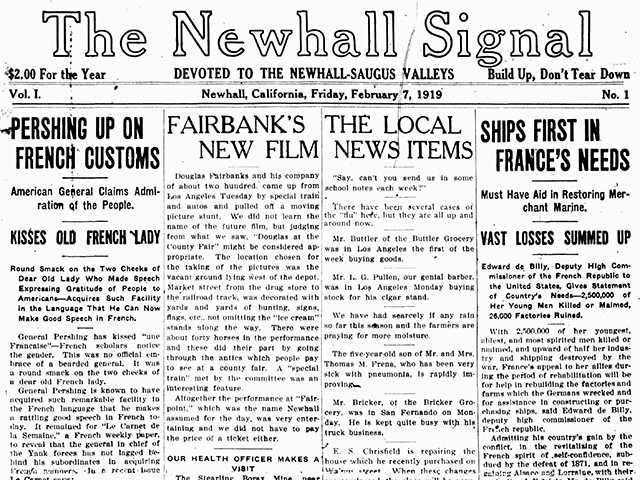 The front page of the first edition of The Newhall Signal as it appeared on Feb. 7, 1919.