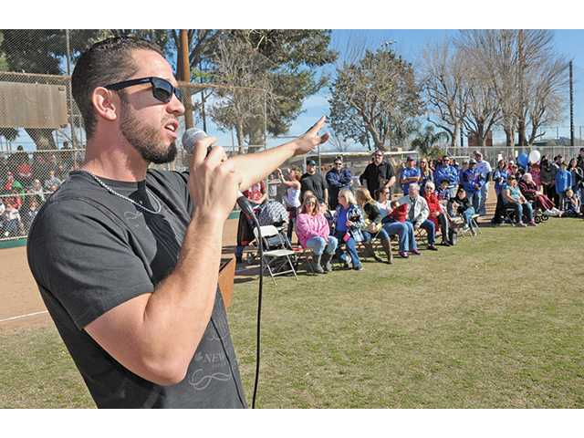 Major League pitcher James Shields of the Kansas City Royals recall his days of playing baseball in the William S. Hart Pony League as he addresses the hundreds of attendees at the Pony League's 60 anniversary event held at the league's sports complex in Valencia.