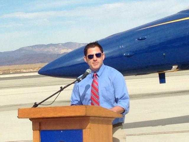 JD Kennedy speaks during a recent Los Angeles County Air Show.