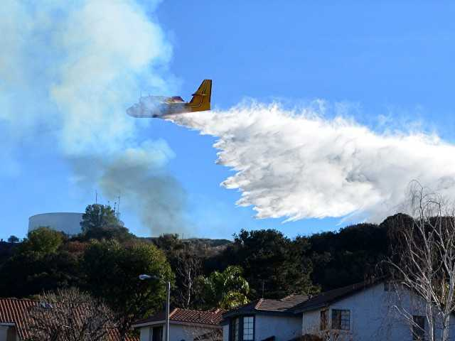 Brush fire doused in Newhall today