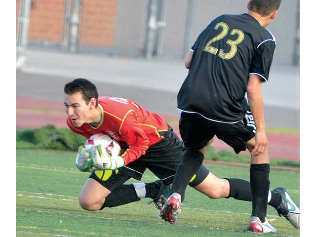 Valencia boys soccer, left, can still fight for second place in league with a win over West Ranch.