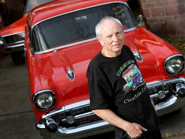 Skip Wilson poses in front of his 1957 Chevrolet Bel Air that was stolen in 1984 and returned to him by the CHP on Monday, three decades after it was stolen.