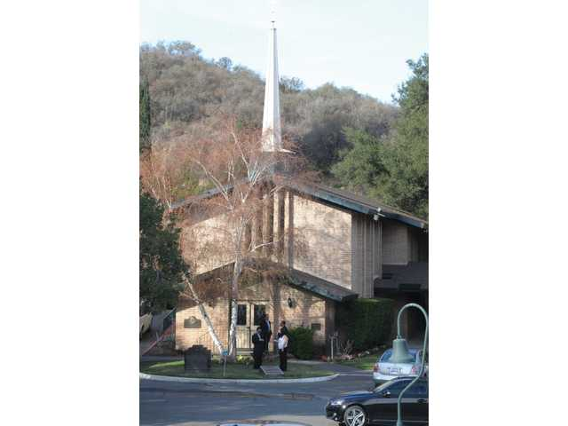 Chapel of the Oaks, built in the 1960's, stands at the entrance to Eternal Valley Memorial Park and Mortuary.