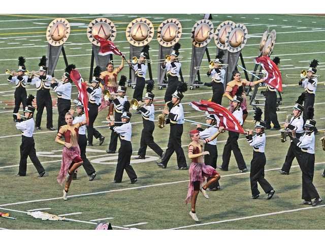 "The Golden Valley Grizzly Marching Band and Color Guard performs to the music of ""300 - The Last Stand"" at the 30th annual Hart Rampage Marching Band Field Show Tournament held at College of the Canyons in Valencia."