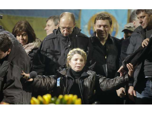 Former Ukrainian prime minister Yulia Tymoshenko addresses the crowd in central Kiev, Ukraine on Saturday.