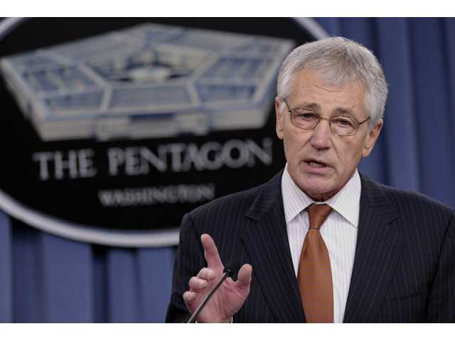 In this Feb. 7 file photo, Defense Secretary Chuck Hagel speaks during a briefing at the Pentagon.