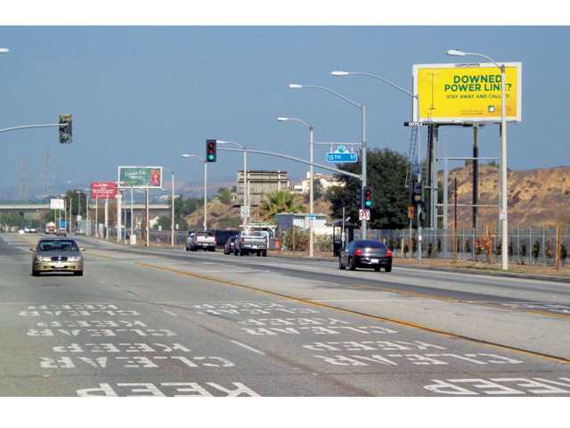 This image provided by the city of Santa Clarita shows a current view of Railroad Avenue with some of the billboards targeted for removal.