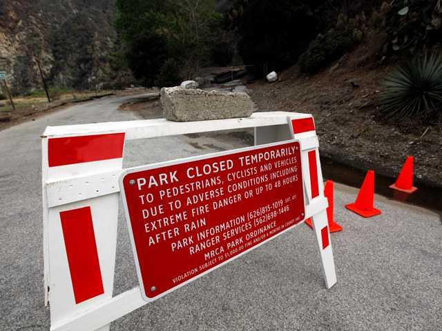 River Wilderness Park in San Gabriel Canyon is temporarily closed, one of several areas considered especially at risk in Azusa near the Colby Fire area. Residents of Bouquet Canyon were urged to evacuate Tuesday as two storms headed toward Southern California.