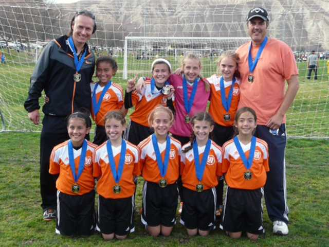 The AYSO Region 678, Section 10 Championship in Bakersfield on Feb. 8 and 9. Pictured left to right; bottom row: Cassidy Cerin, Cambria Frye, Olivia Suarez, Kennedy Desser, Maggie Yoshioka. Top row: Michael Baccelli, Nya Baccelli, Ashley Cortez, Grace Howell, Abby Stevens, Pablo Suarez. Courtesy Photo