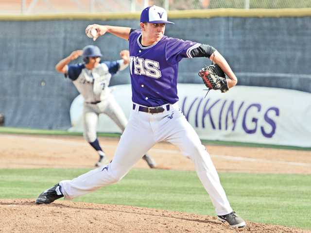 Valencia pitcher Kevin Chandler throws against Camarillio High at Valencia on Tuesday.