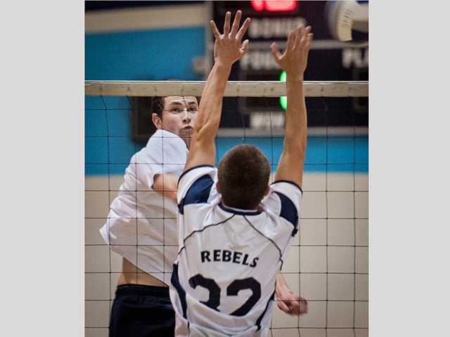 Blake Webb gets one of his many kills against Quartz Hill.
