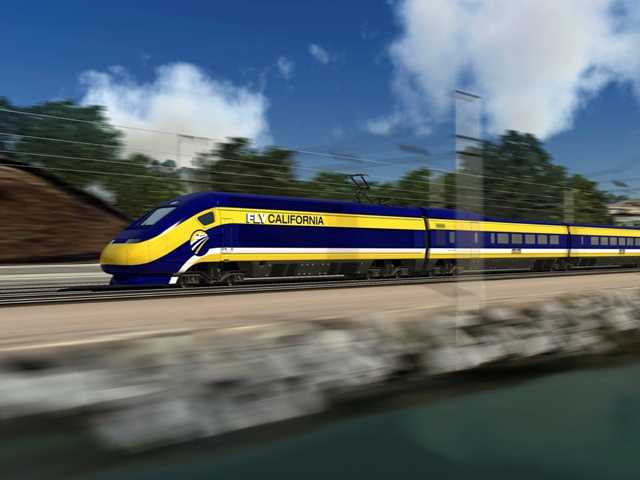 Permission has been granted for eminent domain proceedings against eight properties in Fresno. Above, an artist's rendering of a high-speed train speeding along the coast.
