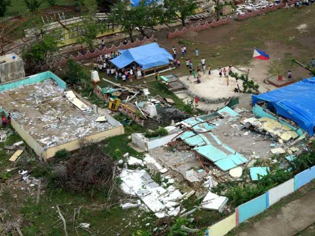 An aerial view of the destruction caused by Typhoon Haiyan on Bantayan Island in the Philippines. Katlyn Murray/Courtesy photo