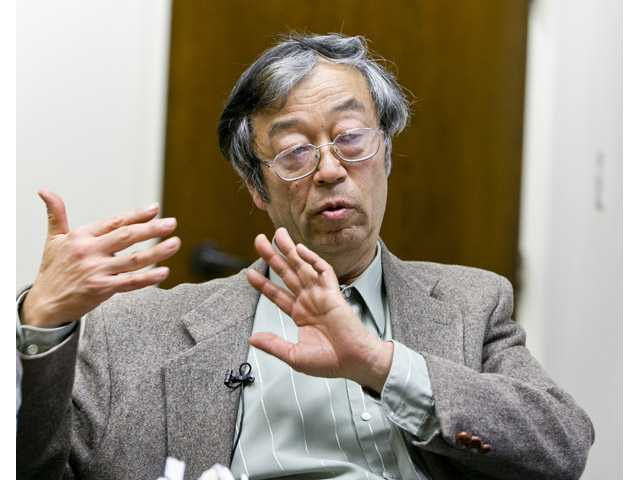 Dorian S. Nakamoto talks during an interview with the Associated Press on March 6 in Los Angeles.