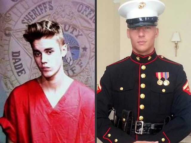 This is the photo posted to Facebook in January which later gathered attention and went viral. The photo compares a recent Justin Bieber arrest photo to Jason Gardner's Marine Corps. The message, age is not a good excuse for bad behavior.