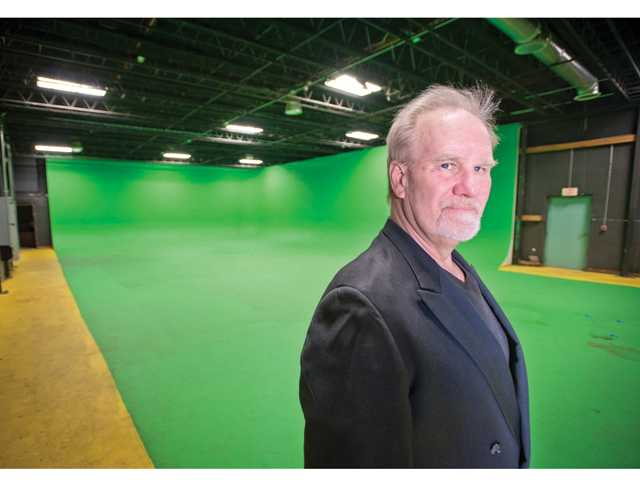 Steve Robertson, head of Filmmakers Sanctuary Studio, stands in green screen room at one his studio in Castaic.