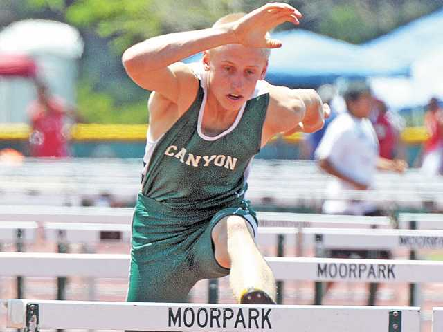 Canyon's Jarrett Davidson competes in the 110-meter hurdles in the CIF-Southern Section prelims on May 11 at Moorpark High School.