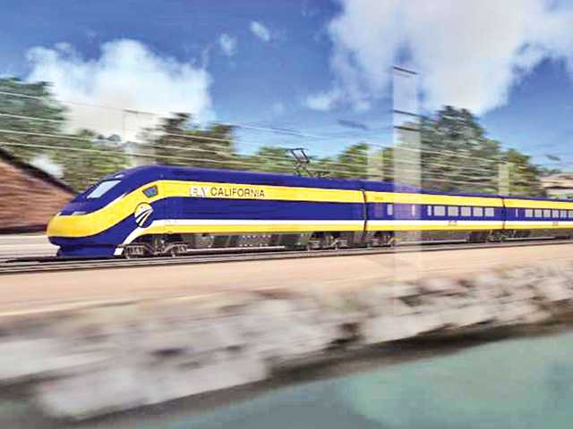 This artist's rendering provided by the California High-Speed Rail Authority depicts a version of the high-speed rail train planned for construction in California.