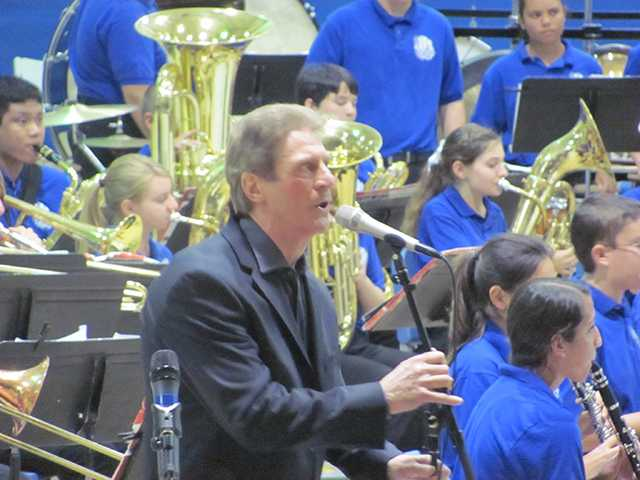 Saugus High School Concert Band with nationally known singer, Tony Galla at their 25th annual POPS concert. Courtesy Photo